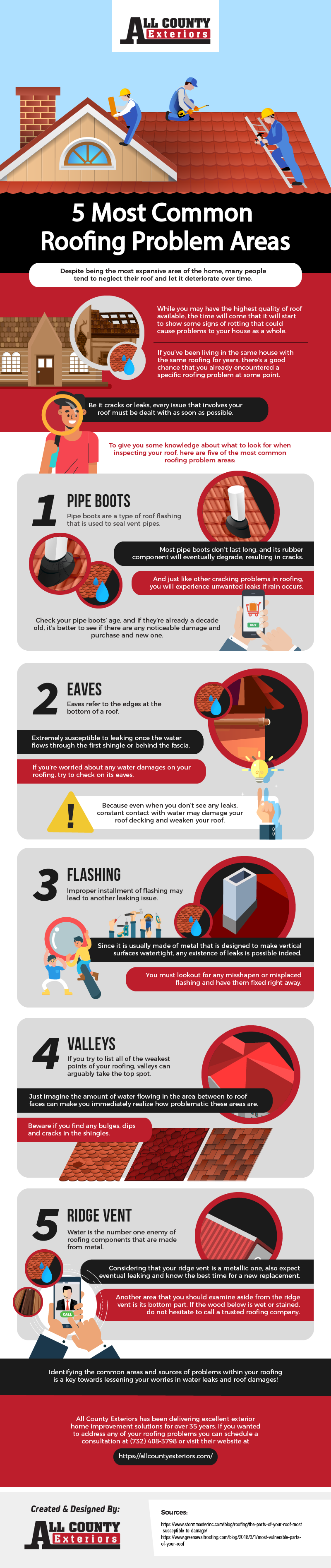 5 Most Common Roofing Problem Areas Infographic